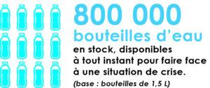 800 000 bouteilles d'eau en stock, disponibles en cas de crise